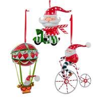 Kurt Adler Santa on Bicycle Scooter Hot Air Balloon  Holiday Ornaments Set of 3