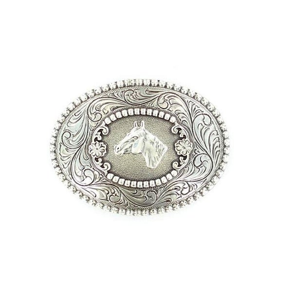 Nocona Western Belt Buckle Oval Horse Crystals Silver - 2 3/4 x 4
