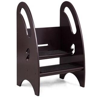 Gymax Growing Step Stool Height Adjustable Kids Footstool Nursery Kitchen Bathroom - COFFEE