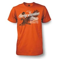 Harley-Davidson Men's Matchless Distressed Eagle Short Sleeve T-Shirt, Orange