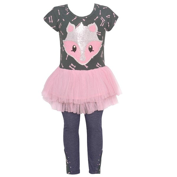 fd208a83fa833 Shop Little Girls Pink Glitter Animal Face Ruffle Tutu 2 Pc Legging Outfit  - Free Shipping On Orders Over $45 - Overstock - 18173290
