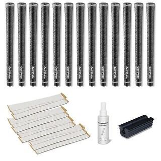 Golf Pride Tour Wrap 2G Midsize Black - 13 pc Golf Grip Kit (with tape, solvent, vise clamp)