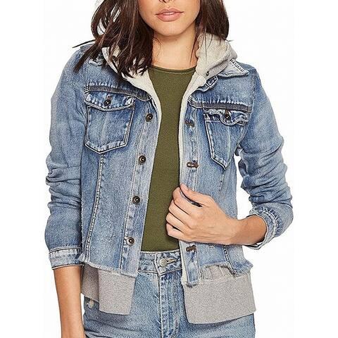 Free People Womens Denim Jacket Light Wash Blue Size XS Double Weave