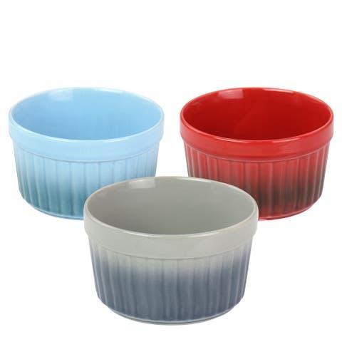 Crock Pot 8 Ounce Thornburg 3 Pc Stoneware Assorted Ramekin Dish Set