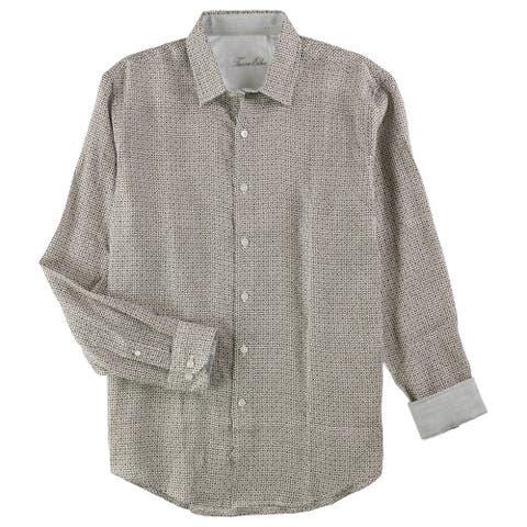 Tasso Elba Mens Scroll Tile Button Up Shirt