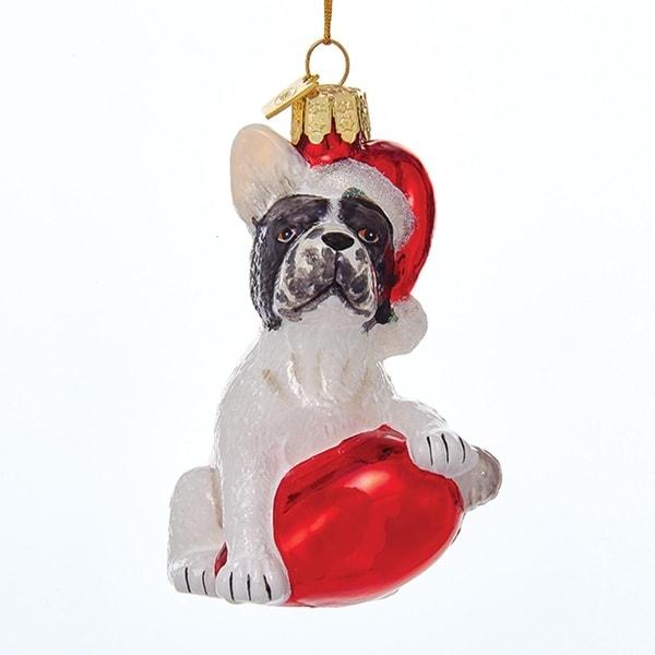"3.5"" Noble Gems French Bulldog in Santa Hat with Retro C7 Bulb Glass Christmas Ornaments - WHITE"
