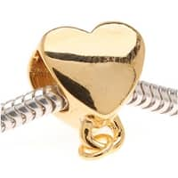 22K Gold Plated Heart Shaped Bead - Charm Bail With Loop - European Style Large Hole (1)