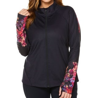 SHAPE Black Red Abstract Print 2X Plus Athletic Full-Zip Jacket