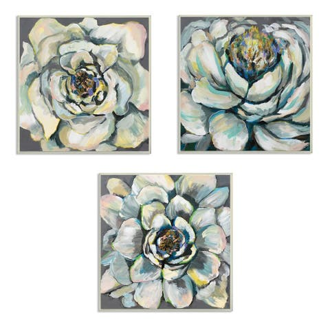 Stupell Industries Succulent Blooms Green Yellow Paintings,12 x 12, Wood Wall Art
