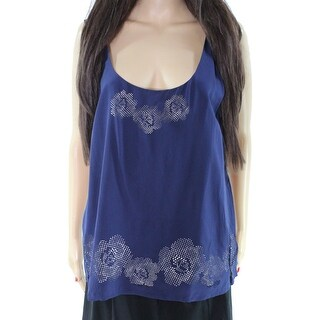 Joie NEW Navy Blue Nude Eyelet Women's Size Large L Tank Cami Silk Top