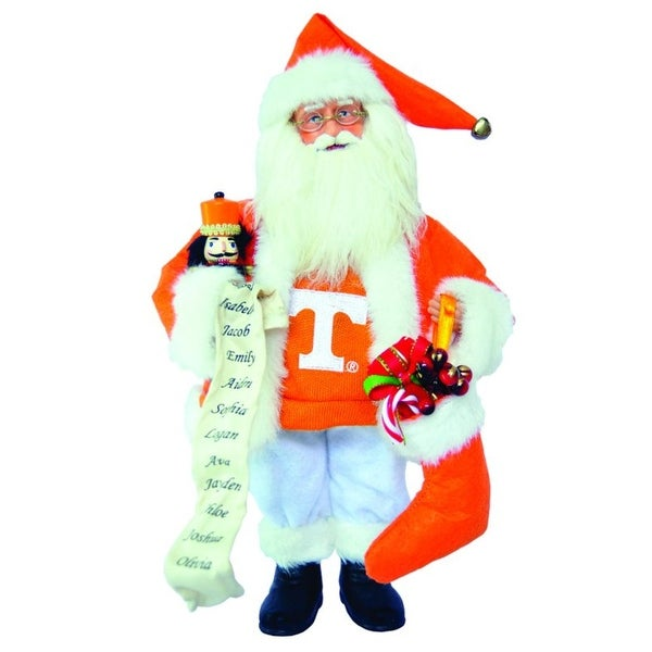 "15"" NCAA Tennessee Vols Santa Claus Christmas Figure with Nutcracker & Stocking - ORANGE"