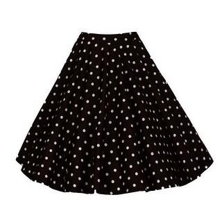 Retro Polka Dot Print Womens High-waisted Full Circle Elegant A-line Skirt Black Large