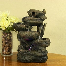 Sunnydaze Staggered Rock Falls Tabletop Fountain with LED Lights, 11 Inch Wide x
