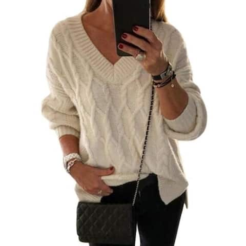 Women's Sweater Casual V Neck Sheer Loose Oversized Pullover Sweater