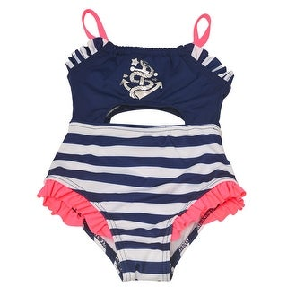 Penelope Mack Baby Girls Navy Stripe Anchor Detail One Piece Swimsuit