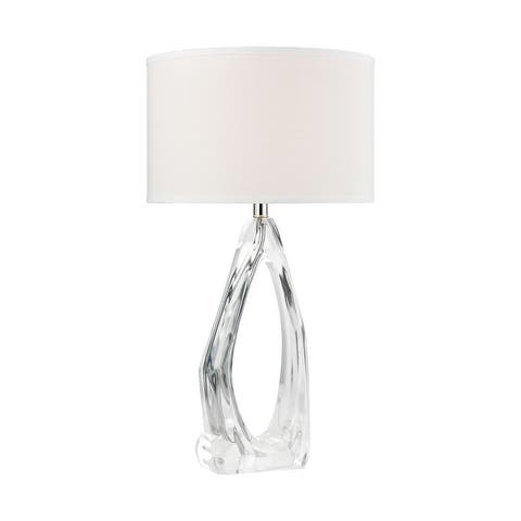 Clarity Table Lamp in Clear with a White Linen Shade