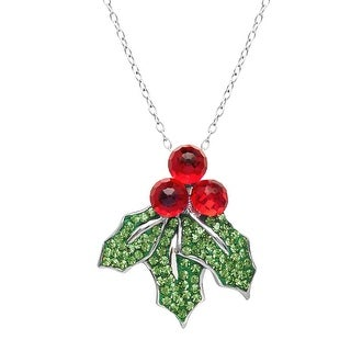 Crystaluxe Holly Pendant with Red & Green Swarovski Crystals in Sterling Silver