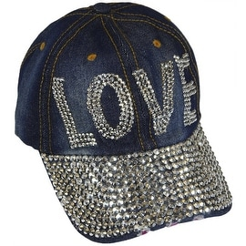Love Sparkling Bedazzled Studded Baseball Cap Hat, Denim, Dark Blue