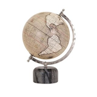 "13"" Tan and Ivory Terrestrial Equator Globe with Decorative Marble Base"
