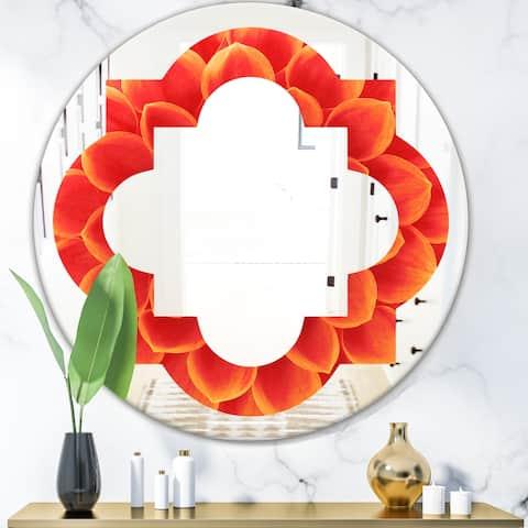 Designart 'Abstract Orange Flower Design' Modern Round or Oval Wall Mirror - Quatrefoil