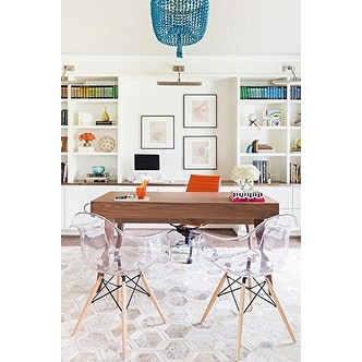 2xhome - Set of 2 Clear Modern Designer Acrylic Plastic Chair With Arms Dining Chairs Natural  sc 1 st  Overstock.com & 2xhome - Set of 2 Clear Modern Designer Acrylic Plastic Chair With ...