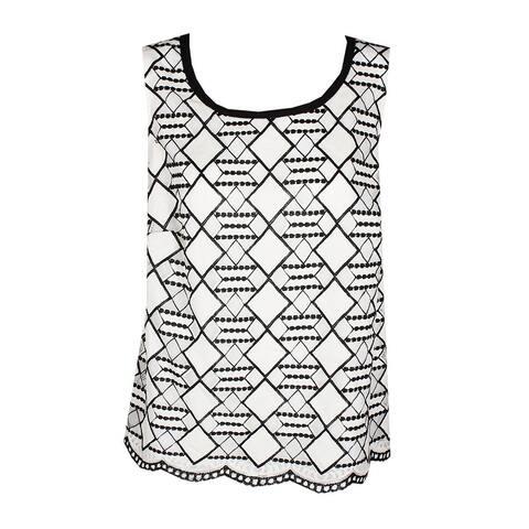 Nine West Plus Size Ivory Black Sleeveless Lace Shell 16W