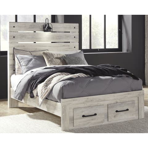 Cambeck Whitewash Panel Bed with 2 Footboard Storage Drawers