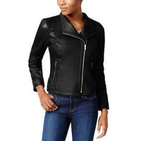 Cole Haan Asymmetrical Leather Moto Jacket Black