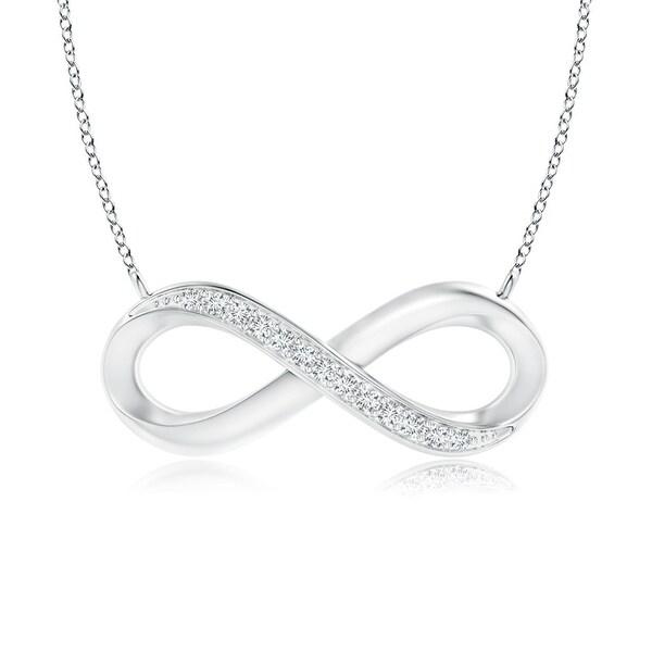 Angara 1mm Sideways Pave Set Round Diamond Infinity Pendant in 14K White Gold - White H-I