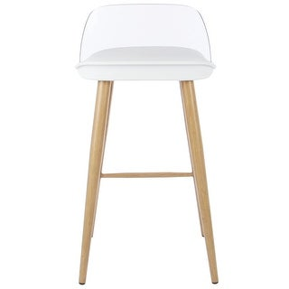 VECELO Modern Counter Stool/Chair with Steel Imitation Solid Wood Legs,Set of 2