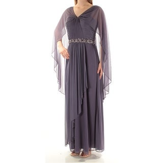 Womens Purple Kimono Sleeve Maxi Sheath Evening Dress Size: 12
