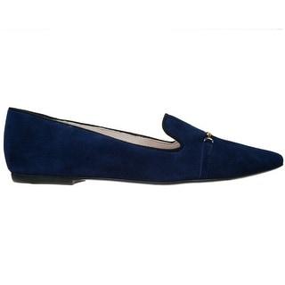 Bailarinas DIDY AZU Navy Blue Suede Loafer Flat