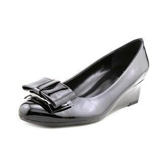 Vaneli Arda Women Open Toe Synthetic Black Wedge Heel
