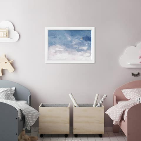 Olivia's Easel 'Clouds Midnight' Kids Wall Art Framed Print Blue,White