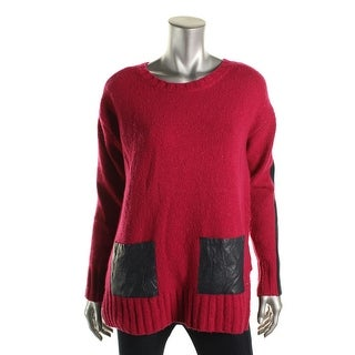Tommy Hilfiger Womens Wool Blend Faux Leather Trim Pullover Sweater