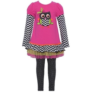Bonnie Jean Baby Girls Fuchsia Owl Chevron Tutu Tunic 2 Pc Leggings Set 0-24M