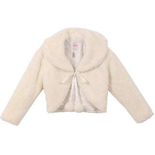 Beautiful Long Sleeve Soft Winter Fur Coat Jacket Ivory CC3011
