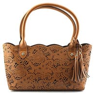 Buco Small Leather Lace Tote Women   Leather Tan Tote - Beige