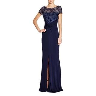 David Meister Womens Evening Dress Mesh Inset Short Sleeves