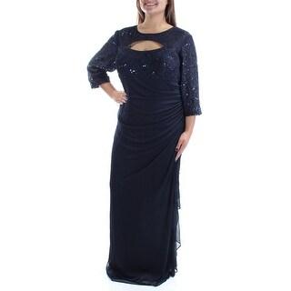 Womens Navy 3/4 Sleeve Full Length Formal Dress Size: 14W