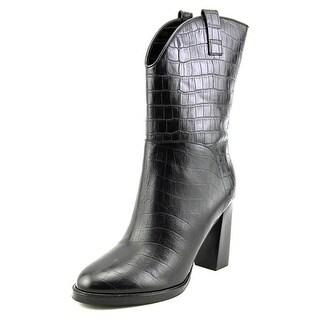 Sigerson Morrison Elisa Women Round Toe Leather Black Mid Calf Boot