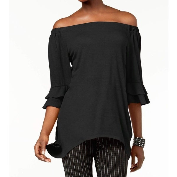 NY Collection Black Womens Size XL Off Shoulder 3/4 Sleeve Top