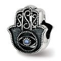 Sterling Silver Reflections Antiqued Blue Crystal Hamsa Bead (4.5mm Diameter Hole) - Thumbnail 0