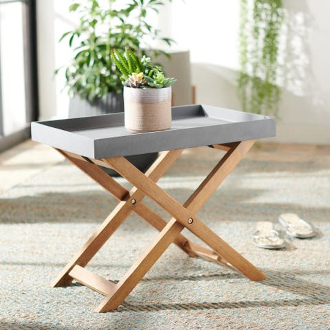 """Safavieh Outdoor Alten Removable Tray Top Side Table - 21.6"""" W x 13.7"""" L x 17.7"""" H - 21.6"""" W x 13.7"""" L x 17.7"""" H"""