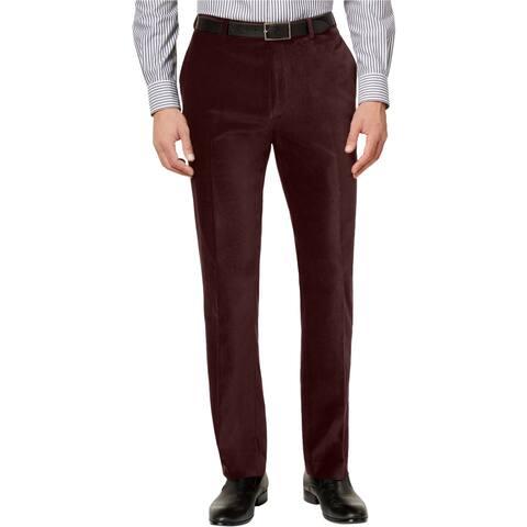 Calvin Klein Mens Slim-Fit Velvet Dress Pants Slacks, Red, 31W x 30L