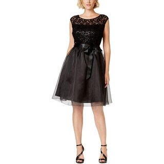 SLNY Womens Plus Party Dress Mixed Media Sequined