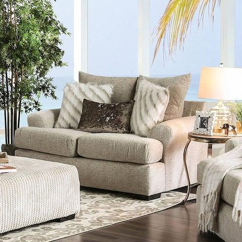 Furniture of America Hann Transitional Beige Fabric Plush Loveseat