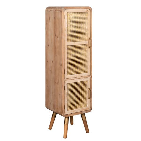 Modern Vintage Shia Tall Cane Accent Cabinet, 57 Inch Tall, Natural Brown and Gold