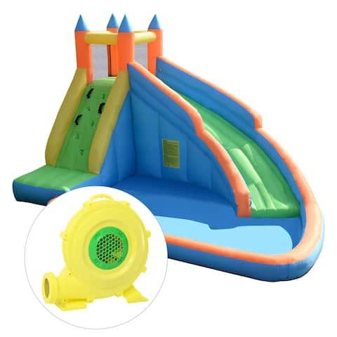 Goplus Inflatable Water Slide Mighty Bounce House Jumper Castle Moonwalk W/ 680W Blower