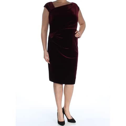 RALPH LAUREN Womens Burgundy Short Sleeve Asymmetrical Neckline Below The Knee Sheath Dress Plus Size: 16W